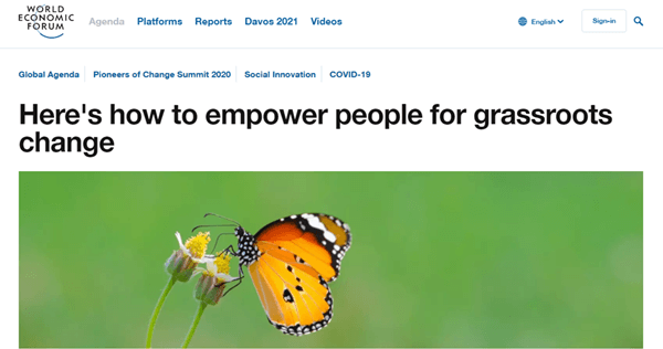 WEF Article on how to empower people for grassroots change